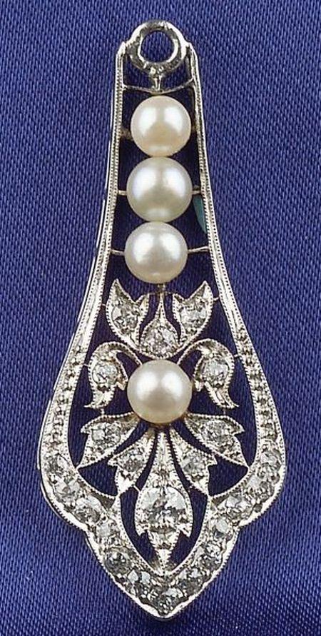 Platinum, Diamond and Cultured Pearl Earpendants