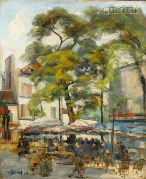 Emile Valentin Cardinal (French, b. 1900)      Cafe Scene