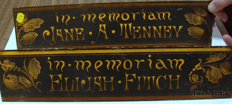 """Pair of Victorian Painted Amber Glass Panels """"In Memoriam, Jane A. Tenney"""" and   """"In Memoriam, Elijah Fitch,"""""""