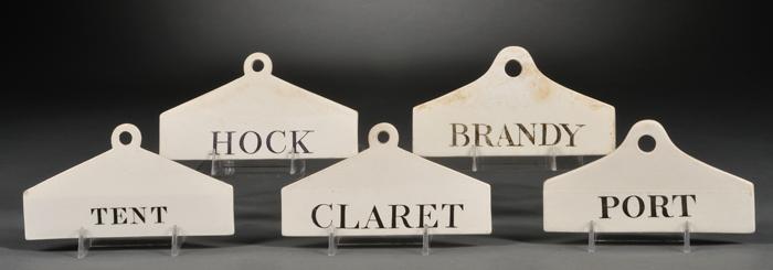 Five Wedgwood Queen's Ware Wine Bin Labels