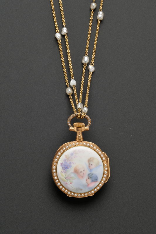 Antique 18kt Gold, Enamel, and Seed Pearl Pendant Watch, Patek Philippe