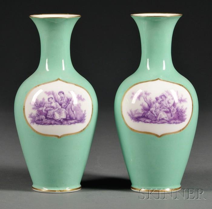Pair of French Porcelain Green Ground Vases