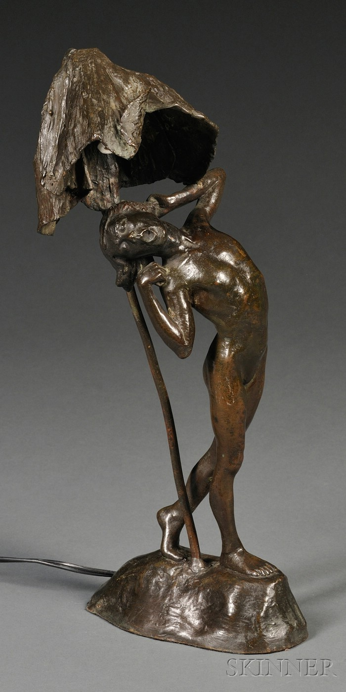 Margaret Hoard (American, 1879-1944)       Bronze Figural Boudoir Lamp Depicting a Sleepy Woodland Nymph