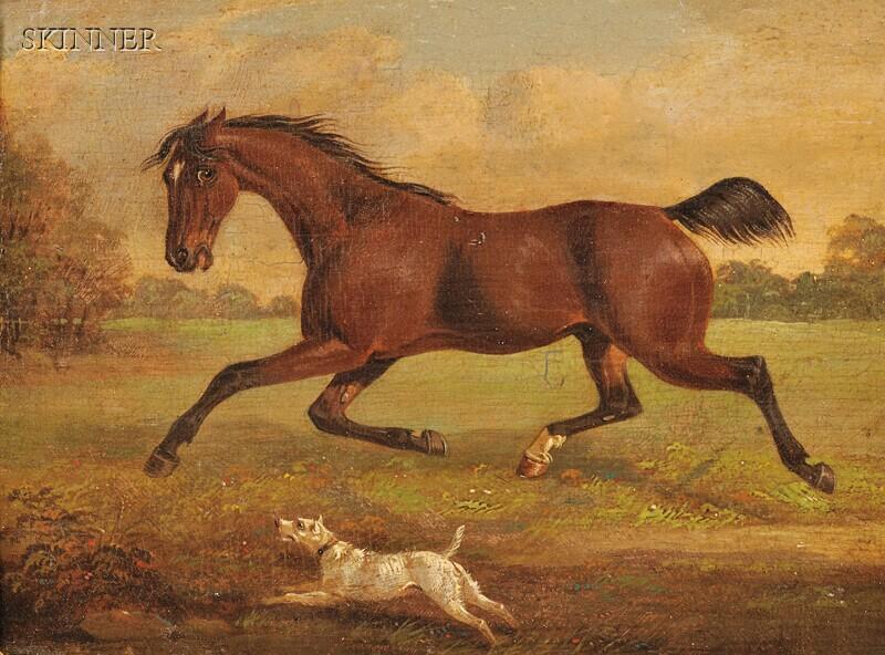 British School, 18th/19th Century      Running Horse and Dog