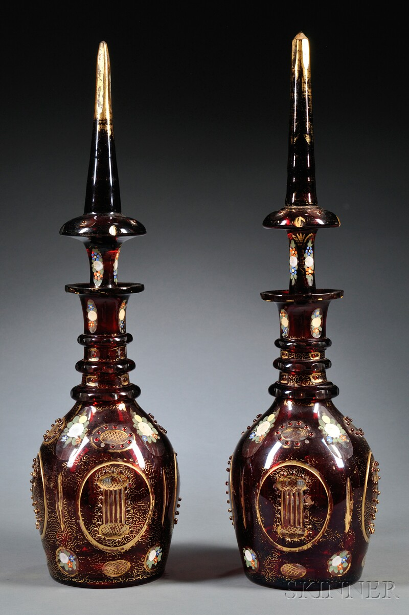 Pair of Ruby Cut-to-clear Glass Decanters