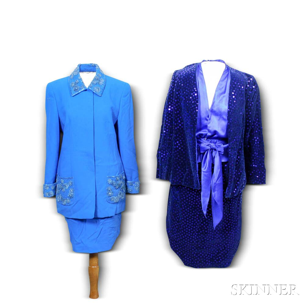 Two Women's Designer Blue Beaded Suits