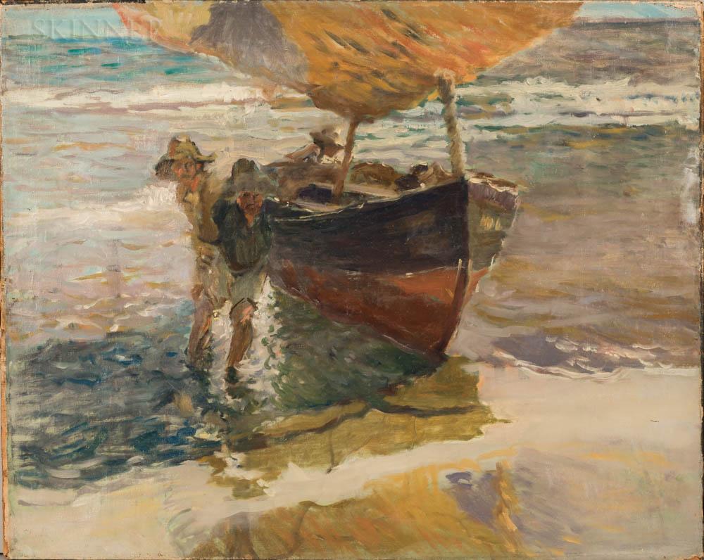 Arthur Clifton Goodwin (American, 1866-1929)      Two Men Beaching a Fishing Boat.