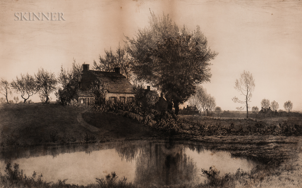Henry Farrer (American, 1843-1903)    Picturesque Cottage by a Pond
