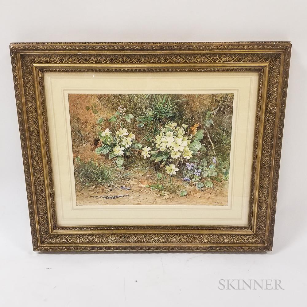 John Jessop Hardwick (British, 1831-1917)       Still Life with Primroses and Violets on a Mossy Bank