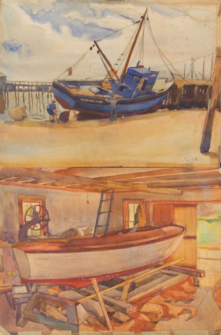 George Yater (American, b. 1910)    The Boat Yard, Provincetown/A Double-sided Drawing: Sanding the Hull