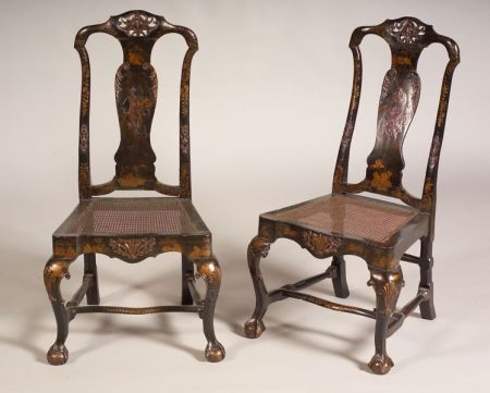 Pair of Continental Rococo Japanned and Caned Side Chairs