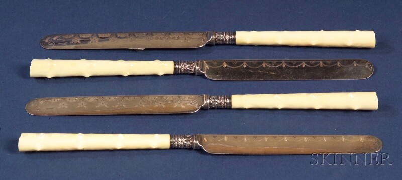 Set of Twelve Continental Ivory-handled Silver and Silver Plate Dessert Knives