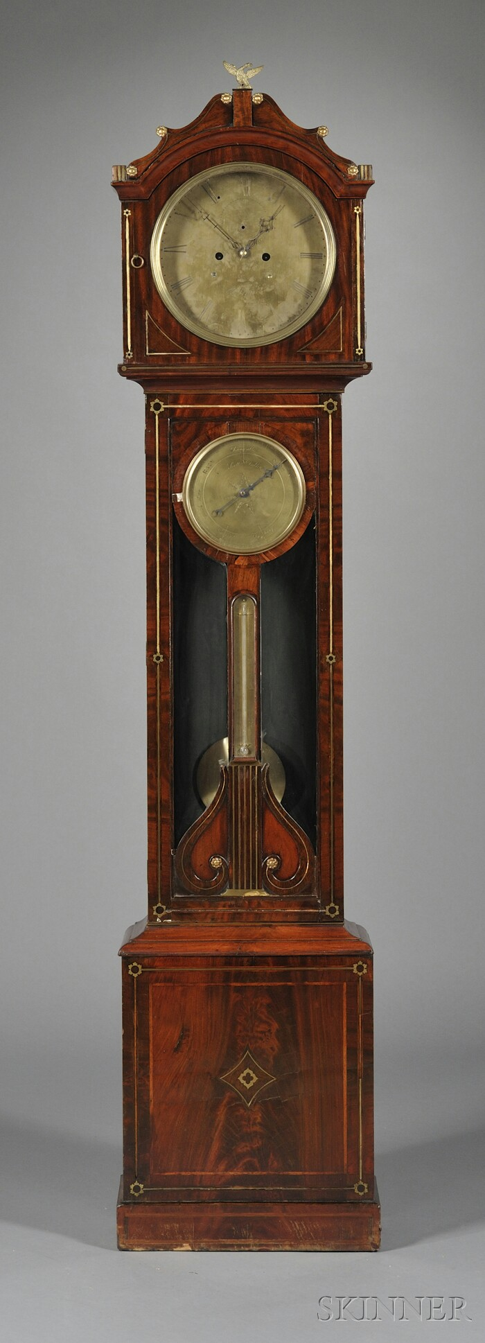 Regency Mahogany and Brass-inlaid Tall Case Clock with Barometer and Thermometer