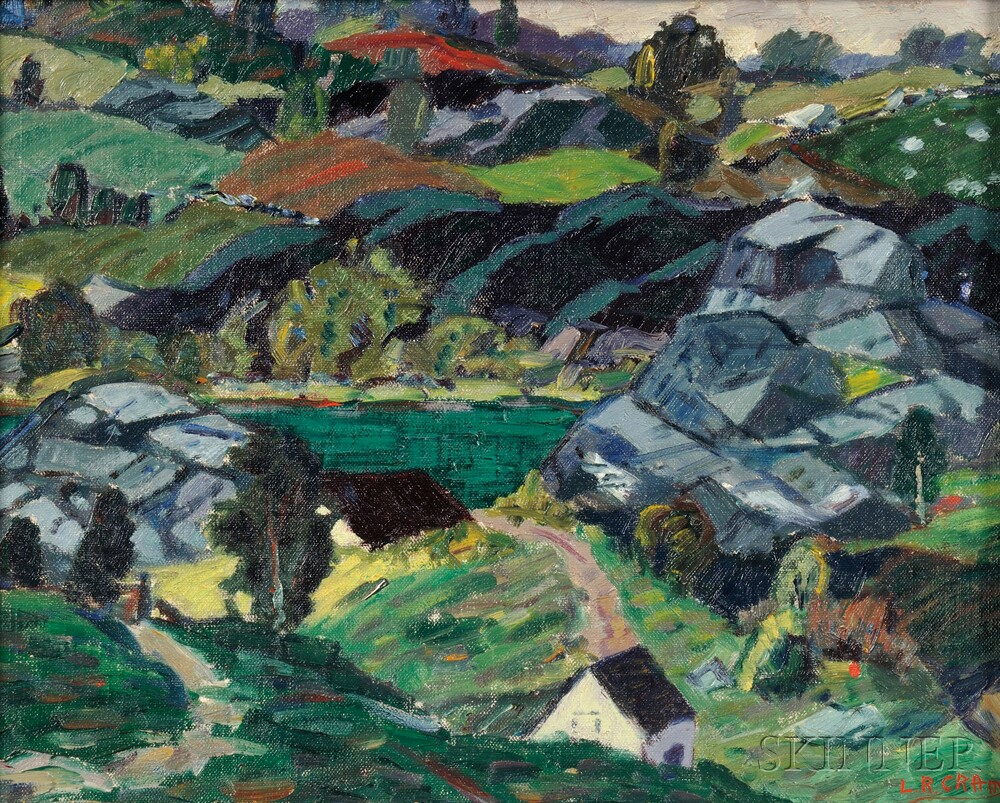 Leighton Cram (American, 1895-1981)      Landscape with Rock Ledges and Foreground House