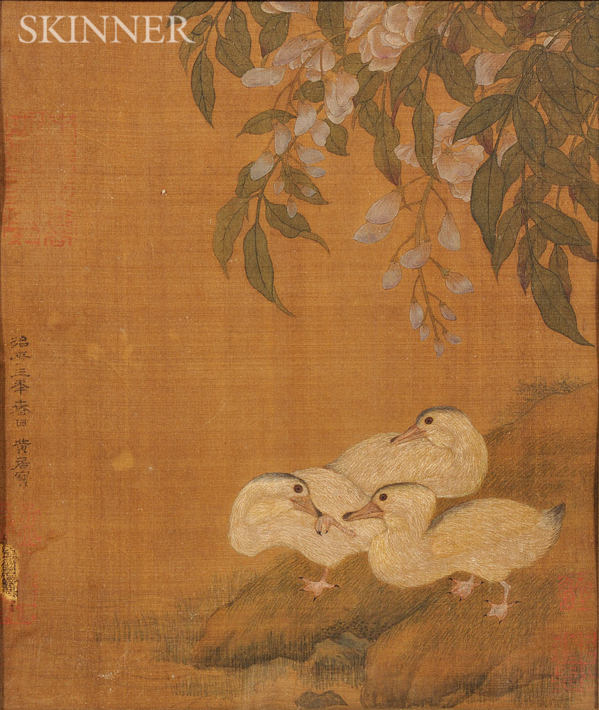 Painting Depicting Three Ducks and Peonies