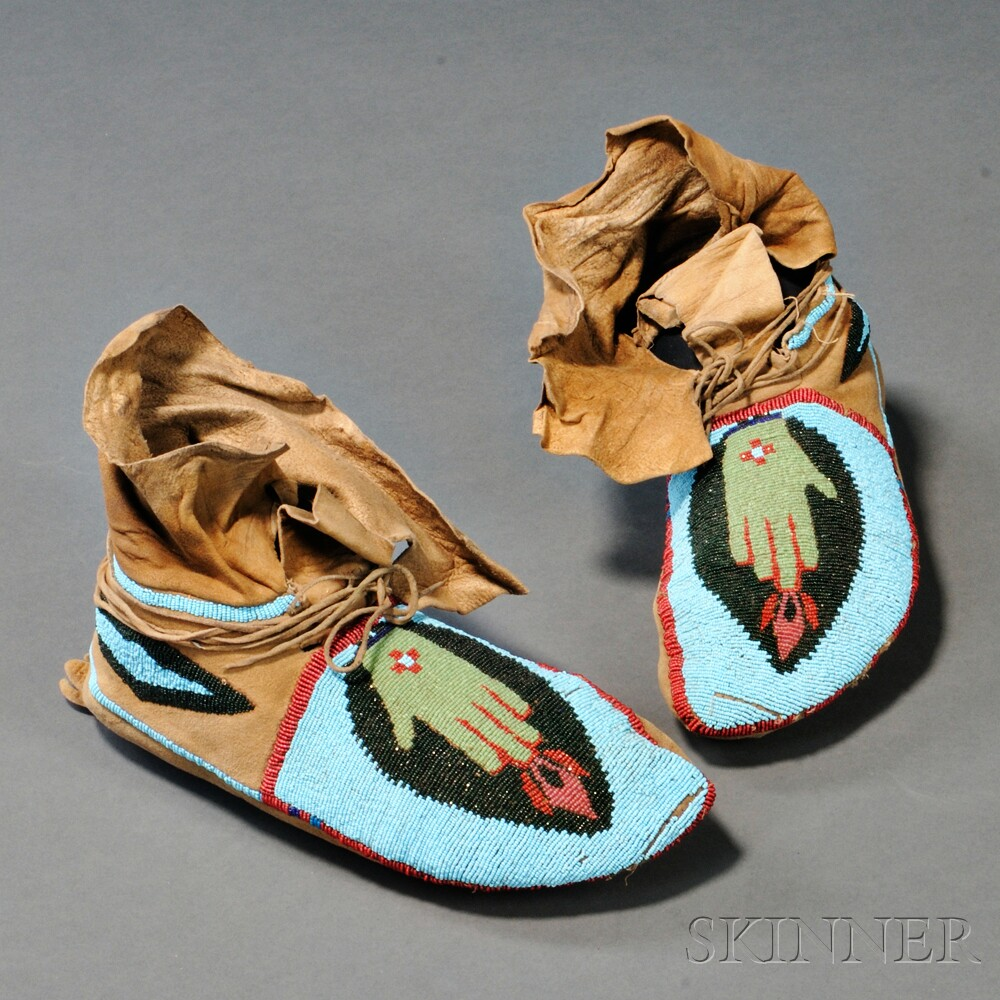 Pair of Plateau Pictorial Beaded Hide Moccasins