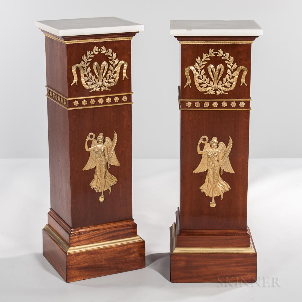 Pair of Neoclassical-style Marble-top Ormolu-mounted Tulipwood-veneered Pedestals