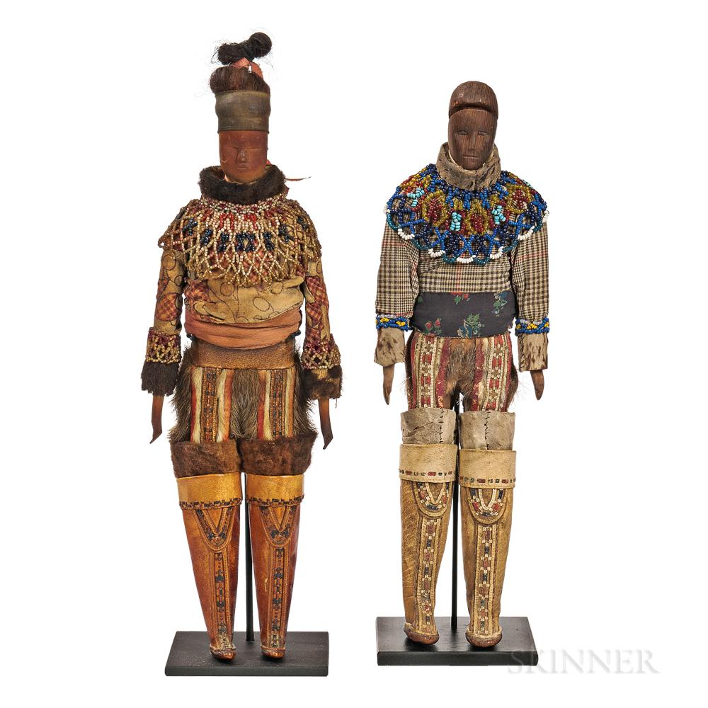 Pair of Greenland Eskimo Carved Wood Dolls