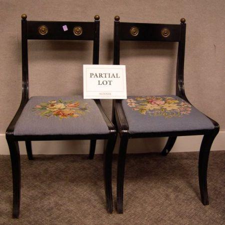 Set of Ten Empire-style Needlepoint Upholstered Brass Mounted Ebonized Side Chairs.