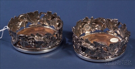 Pair of Victorian Elkington & Co. Electroplated Wine Coasters