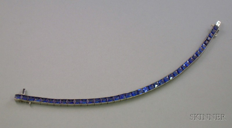 Platinum and Synthetic Sapphire Tennis Bracelet