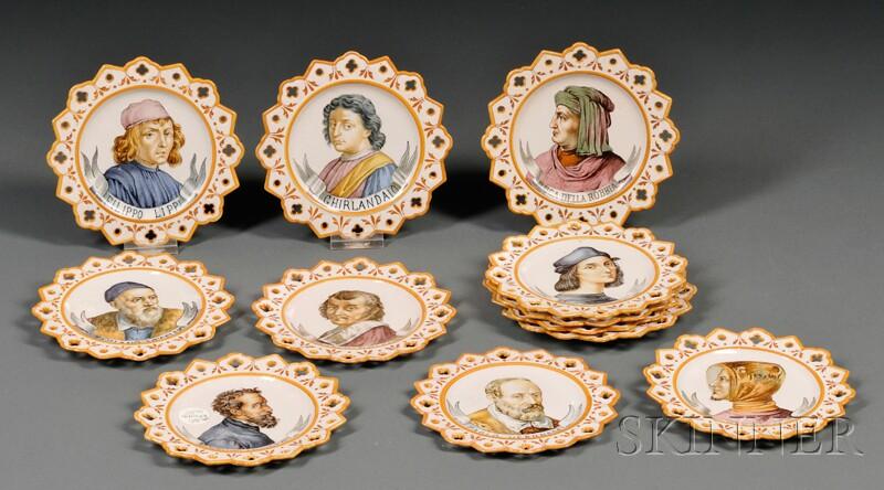 Twelve Ginori Majolica Portrait Plates
