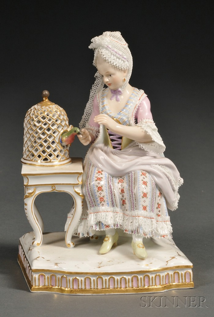 Meissen Porcelain Figure of a Lady with a Parrot