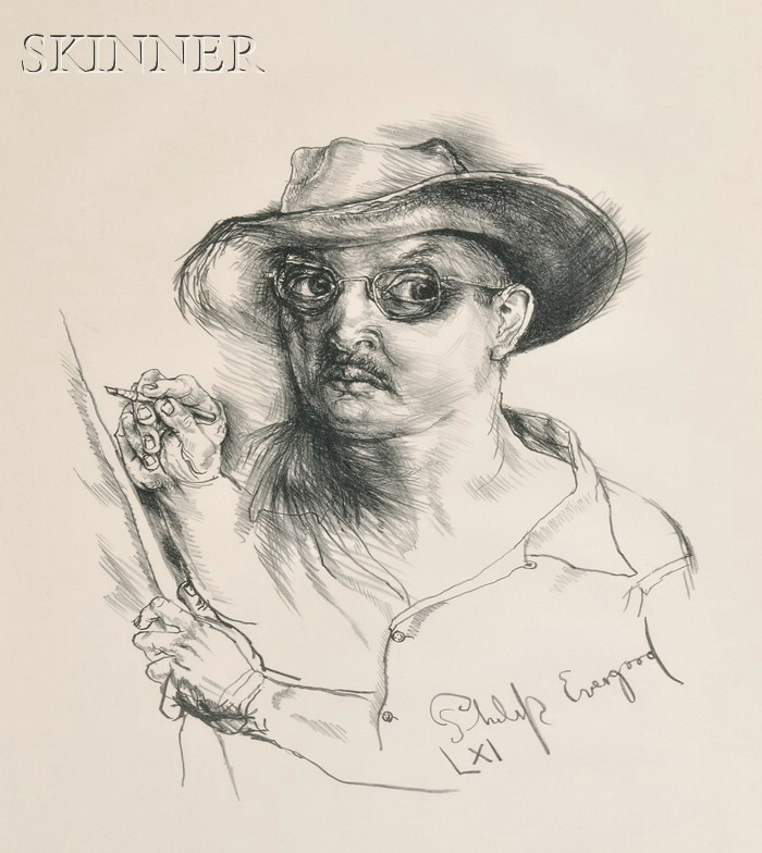 Philip Evergood (American, 1901-1973)      Self Portrait with Hat