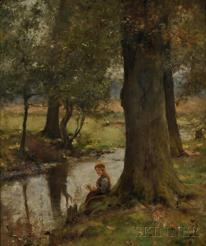Léo Malempré  (British, fl. 1887-1901)      Young Woman Seated by a Stream