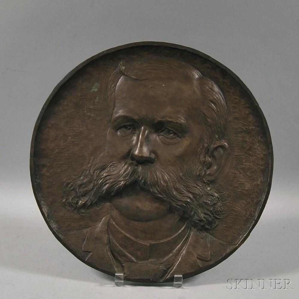Hugh Cairns (Massachusetts, 1861-1942)      Bronze Plaque Depicting a Gentleman with a Mustache.