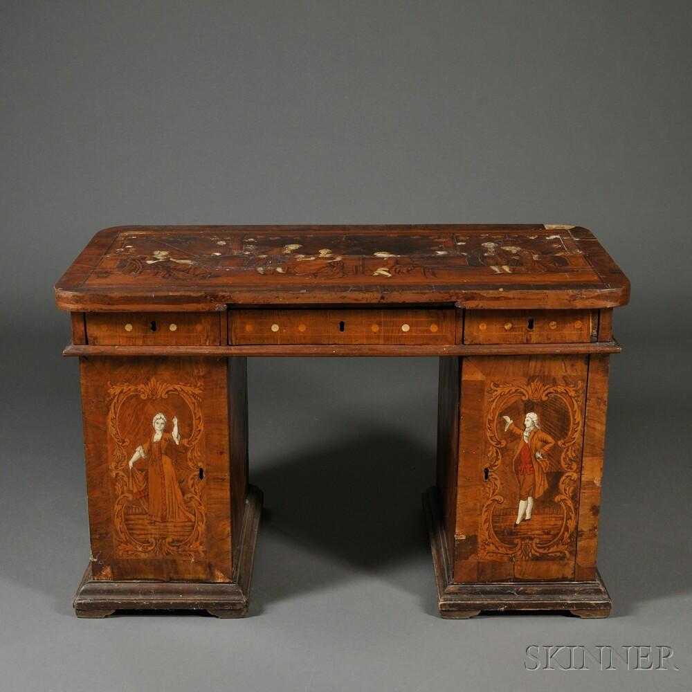 Italian Inlaid Walnut Pedestal Desk