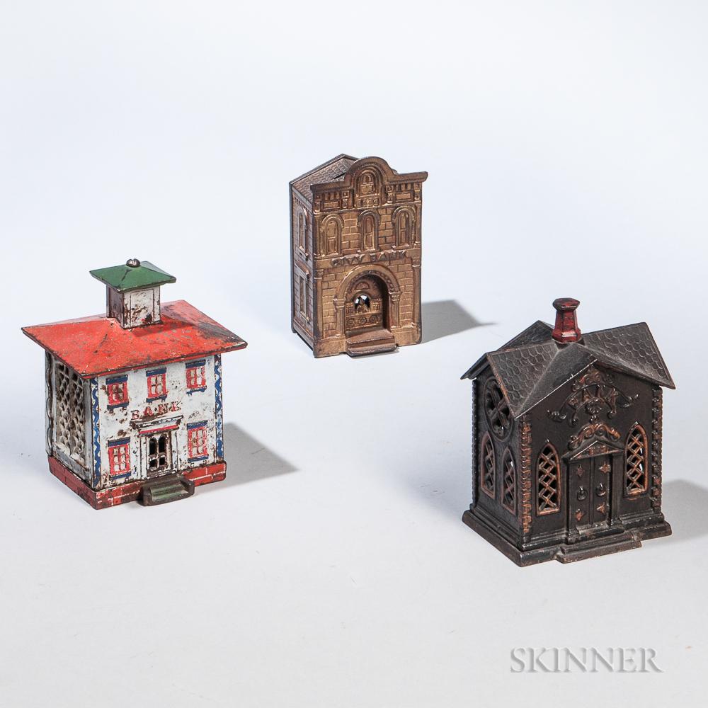 Three Cast Iron Architectural Still Banks