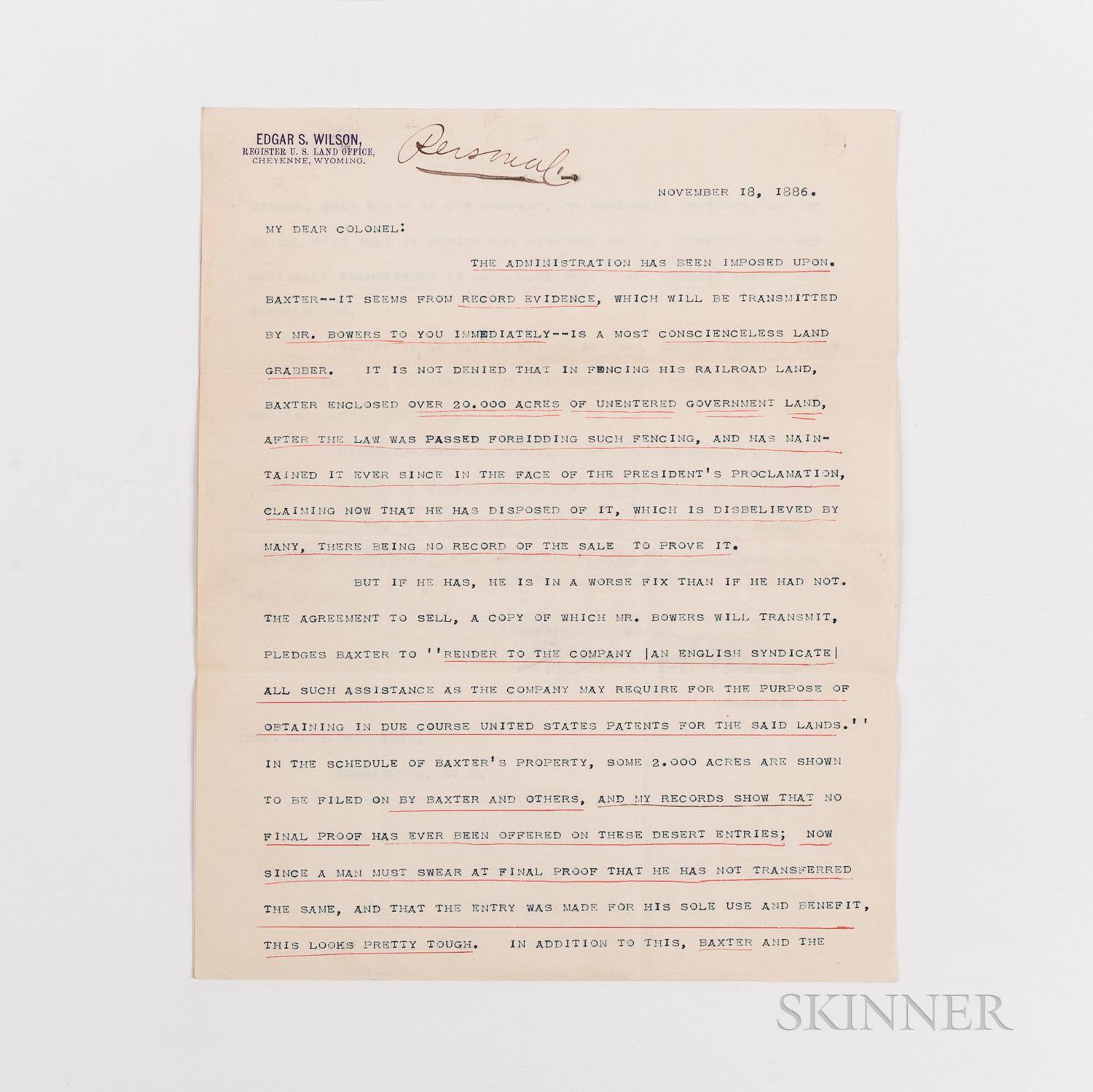 Baxter, George W. (1855-1929), Papers Relating to the Fencing of Government Lands, Wyoming, 1886-1887.
