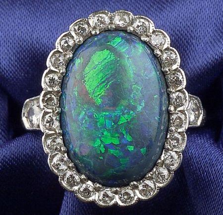 Art Deco Platinum, Black Opal and Diamond Ring