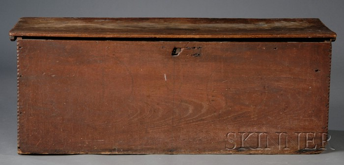 Red-stained Yellow Pine Carved Board Chest