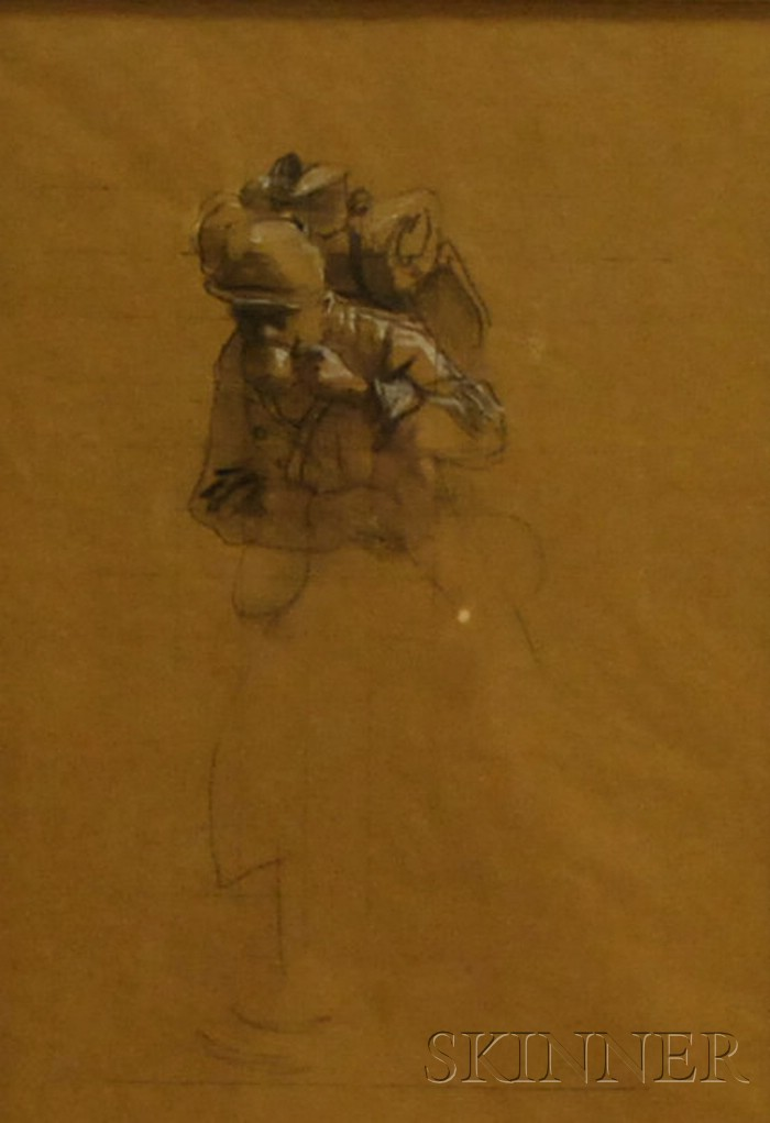 Lot of Five Drawings of Soldiers by Charles Constantine Hoffbauer      (American, 1875-1957)