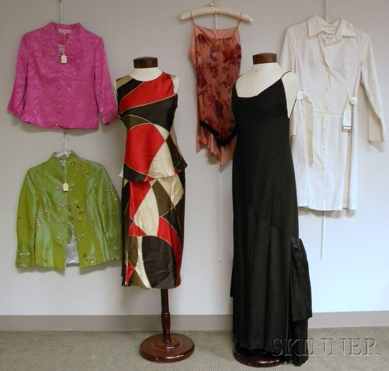 Group of Lady's Clothing and Two Chinese Porcelain Figures