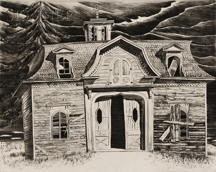 Lawrence Kupferman (American, 1909-1982)      Victorian Carriage House.
