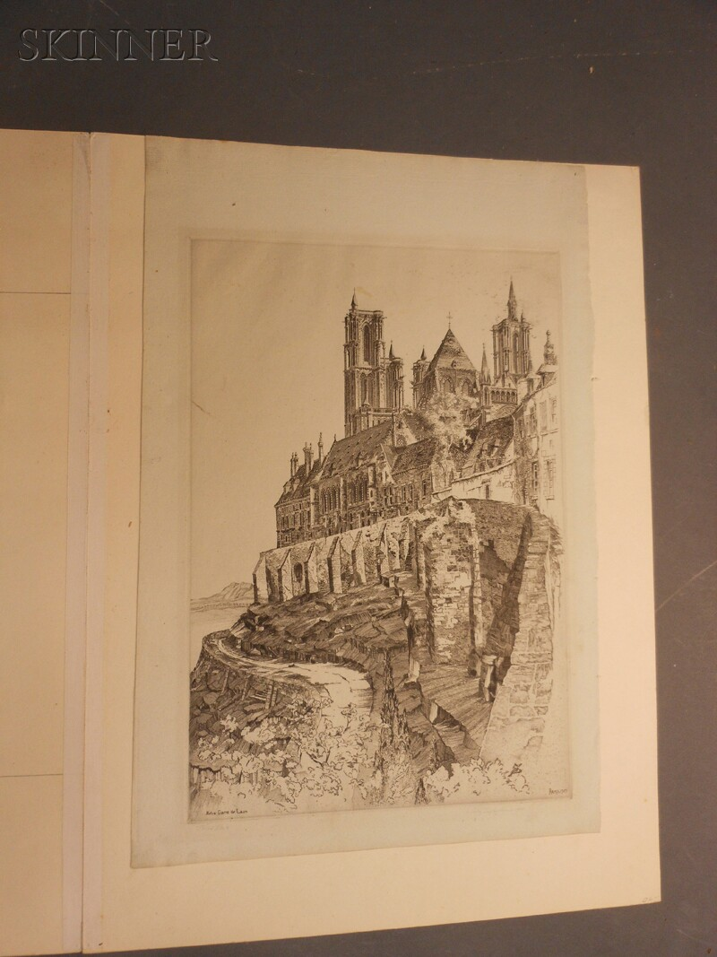 John Taylor Arms (American, 1887-1953)      Two Architectural Views:  Notre Dame de Laòn