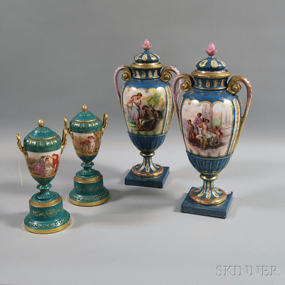 Two Pairs of Continental Porcelain Covered Urns
