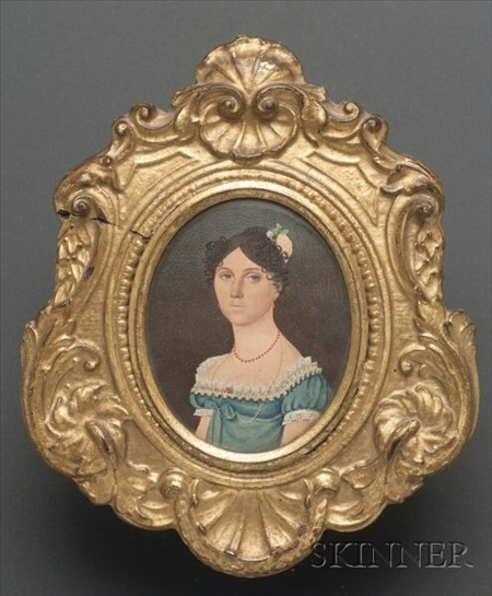 Portrait Miniature of a Woman in a Blue Empire Dress