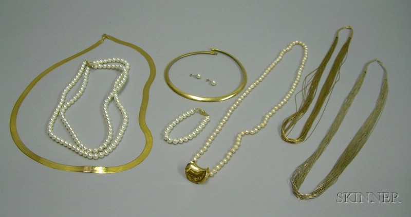 Two 14kt Gold Necklaces, a 14kt Gold and a Sterling Silver Multi Strand Necklace, a Strand of Potato Pearls wit...