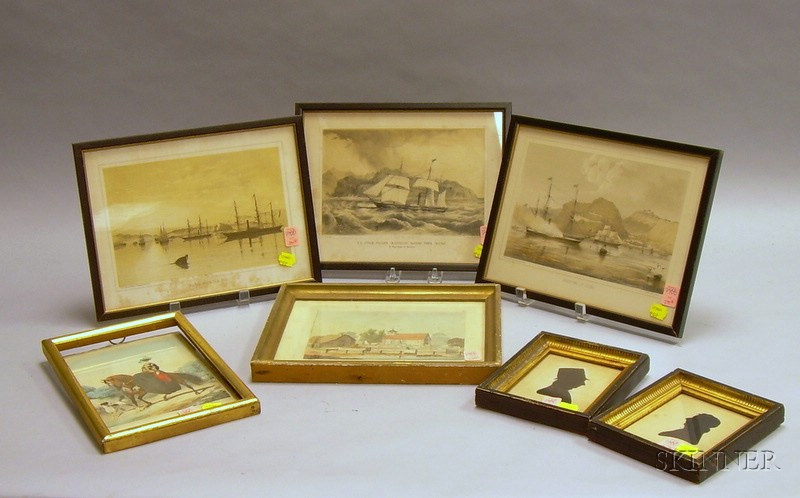 Seven Small Framed Decorative Prints and Silhouettes