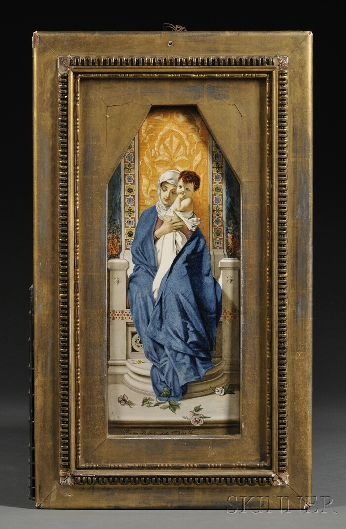 Framed Italian Majolica Plaque of the Madonna and Child