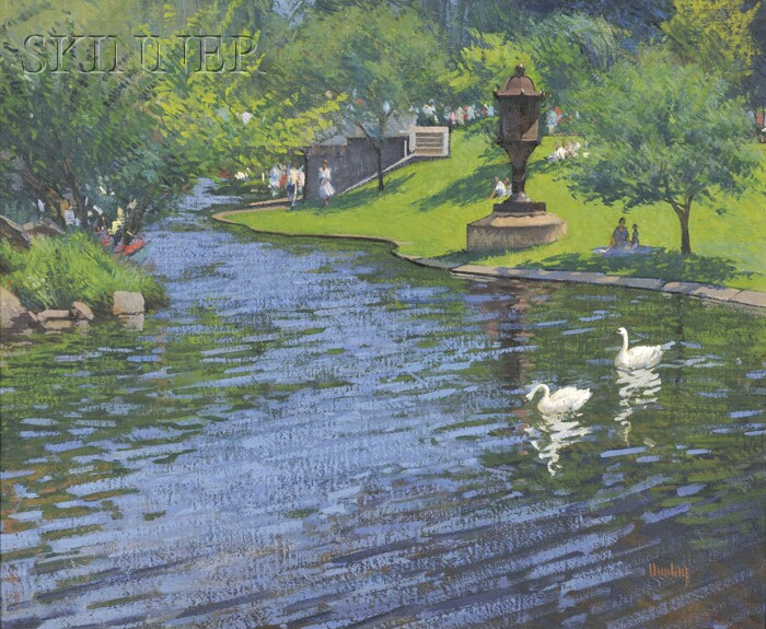 Thomas Russell Dunlay (American, b. 1951)      Swans on the Lagoon at the Boston Public Garden