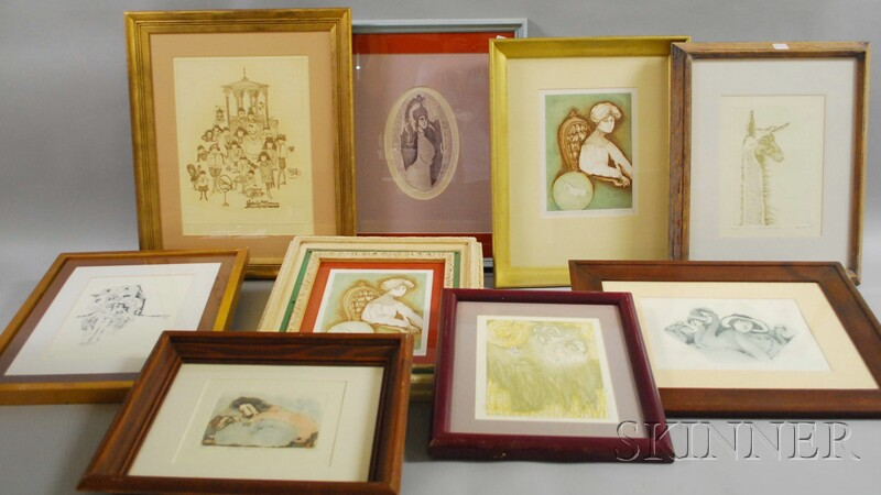 Nine Framed Carol Lummus Etchings.
