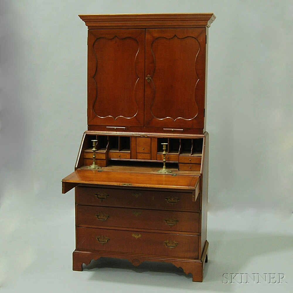 Queen Anne-style Cherry Secretary Bookcase and a Pair of Brass Candlesticks