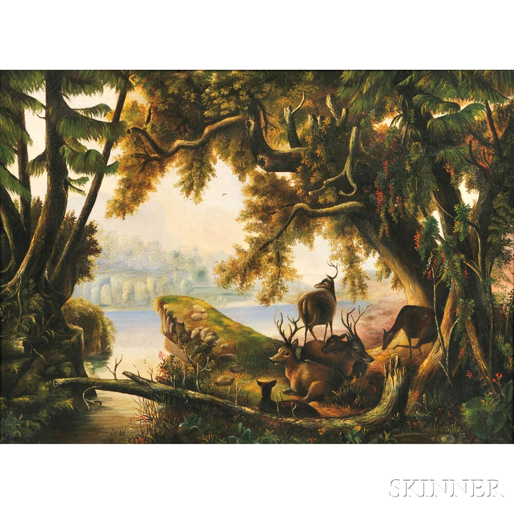 American School, 19th Century       Landscape with Deer.