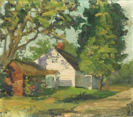 George Henry Leonard (American, b. 1869)  Lot of Two Landscape Views with Cottages, One a Double-Sided Work