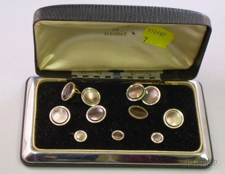 Boxed Larter Bros. Platinum on 14kt Gold and Abalone Mans Dress Set.